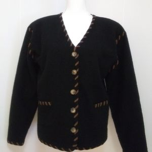 Black wool cardigan Brown trim M Lucia
